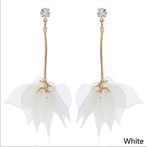 White Flower Petal Drop Earrings